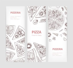Bundle of vertical web banner templates with delicious classical pizza hand drawn with contour lines and place for text on white background. Realistic vector illustration for pizzeria or restaurant.