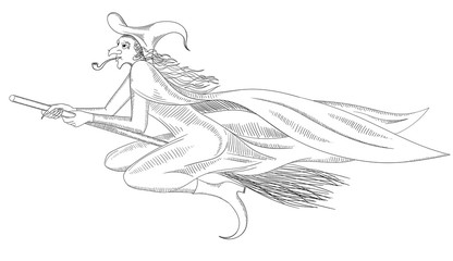 Hand-drawn witch on broomstick sketch isolated on white.