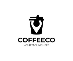 Coffee point logo template. Cafe place vector design. Coffee cup and marker point logotype