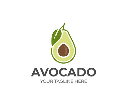 Avocado fruit logo template. Avocado half with leaf vector design. Health food logotype