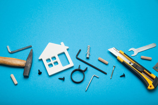 Home repair service, abstract hardware building. Construction creative concept.