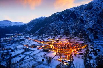 Benasque village sunset in Huesca Pyrenees Spain