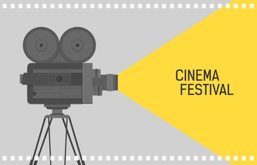 Horizontal background for cinema festival with retro camera or movie projector standing on tripod and film perforation border. Colorful flat vector illustration for event promotion, advertisement.