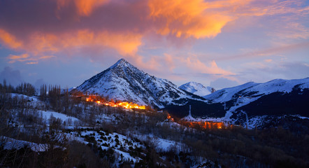 Benasque village sunset in Huesca Pyrenees Spain