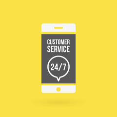 Smartphone customer service 24/7 illustration. Concept of 24/7, open 24 hours, support, assistance, contact, customer service.  Vector illustration, flat design