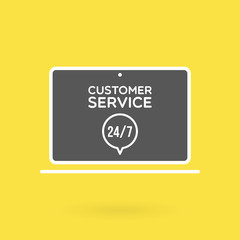 Laptop customer service 24/7 illustration. Concept of 24/7, open 24 hours, support, assistance, contact, customer service.  Vector illustration, flat design
