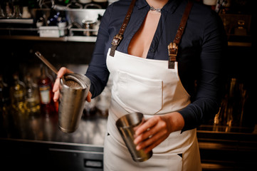 Bartender girl holding steel cocktail shaker with drink