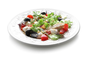 Plate with delicious chicken salad on white background