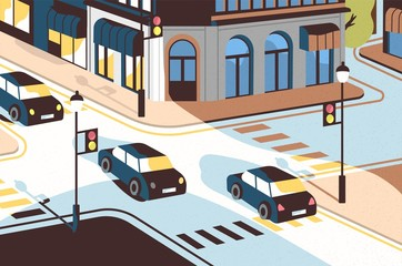 Fototapete - Cityscape with cars driving along road, beautiful buildings, crossroad with traffic lights and pedestrian crossings or crosswalks. View of city street, urban landscape. Modern vector illustration.