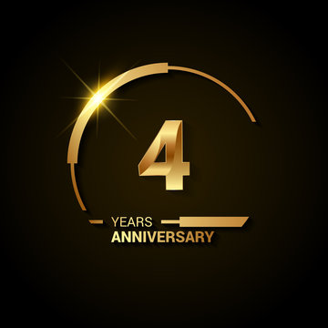 4 Years Anniversary Celebration Logotype. Golden Elegant Vector Illustration with Half Circle, Isolated on Black Background can be use for Celebration, Invitation, and Greeting card