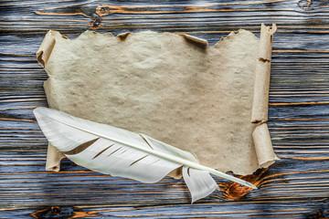 Vintage parchment plume on blue wooden board