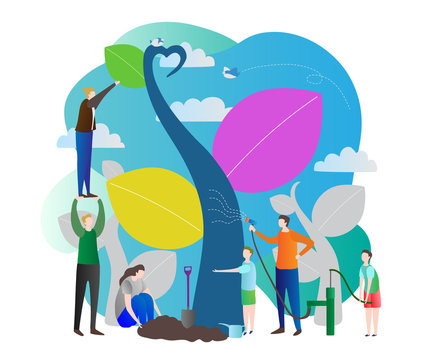 Sapling process modern vector illustration with nurturing nature, world ecology care for green future of the planet earth