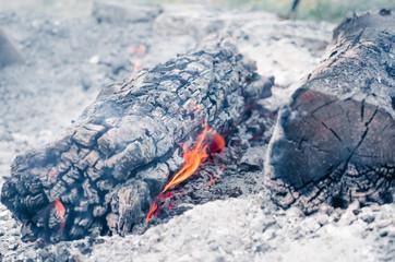 Brennendes Holz Nahaufnahme