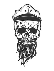 skull with captain cap beard and mustache