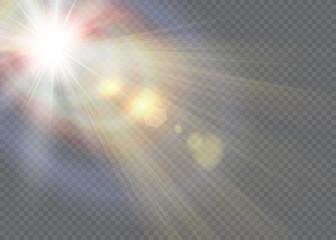 Vector transparent sunlight special lens flare light effect. Wall mural