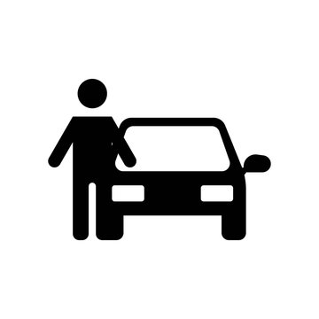 Man with Car icon vector icon. Simple element illustration. Man with Car symbol design. Can be used for web and mobile.