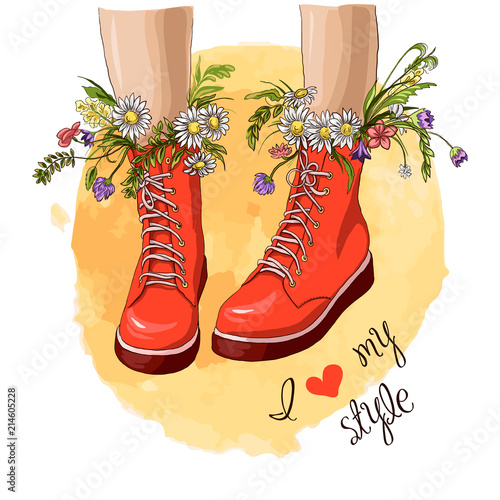 61589ad5128 Fashion women red boots with bouquet flower. Hand drawn sketch. Vector  illustration. Slogan