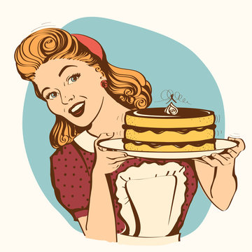 Retro smiling housewife holding big cake in her hands.Vector color illustration