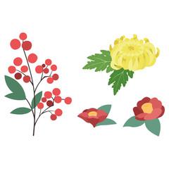南天/菊/椿のイラストセット