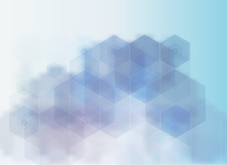 Light BLUE vector blurry hexagon background. Shining illustration, which consist of hexagons.