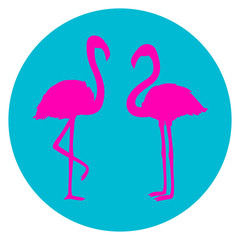 Circle web icon on white isolation background. Flamingos. Cartoon birds