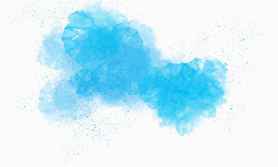 Bright colors of watercolor splotches on a white background