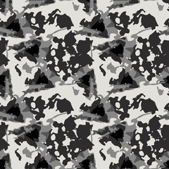 Military camouflage seamless pattern in ivory-white and different shades of grey color