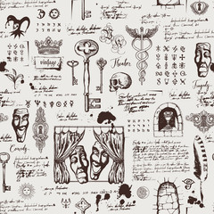 14acaaa9f3 Vector seamless pattern on the theme of theater and drama with drawings of  theatrical masks,