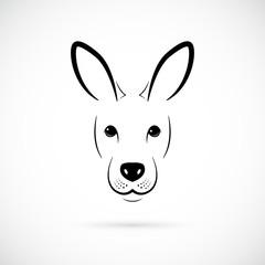 Kangaroo muzzle silhouette. Mammal line icon. Minimalistic template design. Vector illustration.