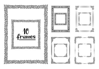 Hand drawn frames isolated. Vector sketch black and white illustration, icon, doodle. Vertical and Horizontal version