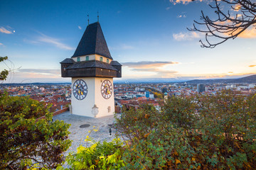 Graz clock tower at sunset, Graz, Styria, Austria Wall mural