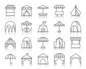 Tent simple black line icons vector set