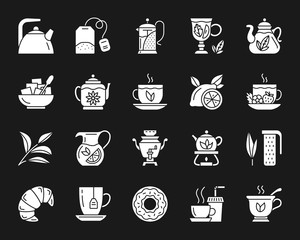 Tea white silhouette icons vector set