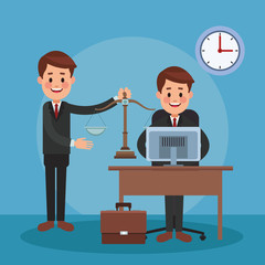 Lawyers working at office vector illustration graphic design