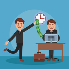Businessmens making money in the office vector illustration graphic design