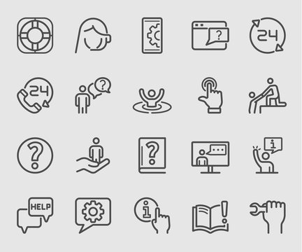 Line icons set for Help and Support