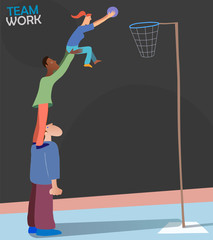 Illustration representing Teamwork and Team Spirit. Three persons of different races and genders playing basketball. Cool metaphoric picture about people achieving a common goal.