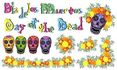 Skulls, marigold flowers and lettering for Day of the Dead (Dia de los Muertos) design, set of vector illustrations.