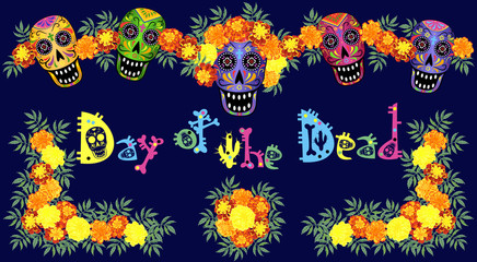 Skulls, marigold flowers and creative lettering for Day of the Dead (Dia de los Muertos) design, vector illustration.