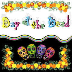 Day of the Dead (Dia de los Muertos) illustration with skulls, marigold flowers and lettering, vector template for poster or greeting card design.