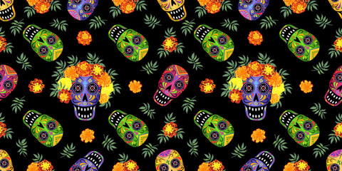 Day of the Dead seamless pattern with skulls and marigold flowers on black background, vector illustration.