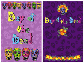 Day of the Dead (Dia de los Muertos) illustration with skulls, marigold flowers and lettering, vector template for greeting card design.