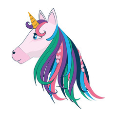 beauty unicorn head with horn and hairstyle