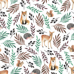 Seamless pattern with foxes, deers, hedgehogs. Watercolor hand drawn