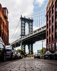 Spoed Fotobehang Brooklyn Bridge View of Manhattan Bridge from Washington Street in Brooklyn