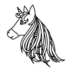 line beauty unicorn head with horn and hairstyle