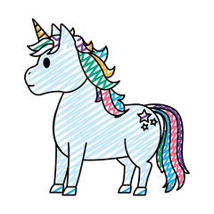 doodle cute unicorn with stars tattoo style