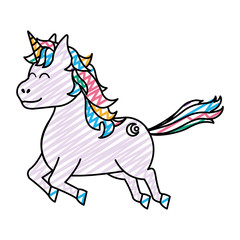 doodle cute unicorn with arrow tattoo style