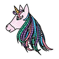 doodle beauty unicorn head with horn and hairstyle