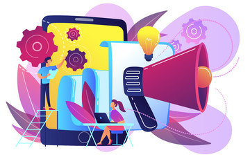 Tablet with loudspeaker and team working on white paper. ICO investment document, startup business strategy, product development plan concept, violet palette. Vector isolated illustration.